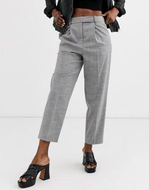 Серые брюки прямого кроя -Серый Topshop
