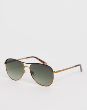Золотистые солнцезащитные очки-авиаторы с зелеными стеклами Ted Baker. Цвет: золотой