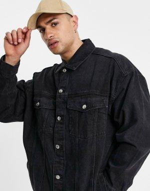 Черная джинсовая куртка в стиле super oversized -Черный цвет Bershka