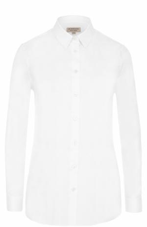 Приталенная хлопковая блуза Burberry. Цвет: белый