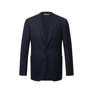 Шерстяной пиджак Canali. Цвет: синий