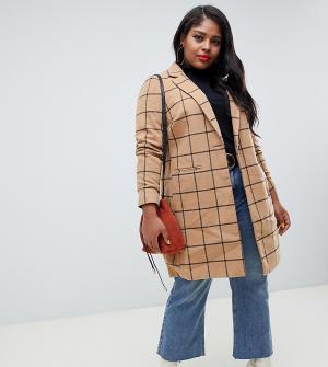 Бежевое пальто в клетку New Look Curve Plus. Цвет: светло-бежевый