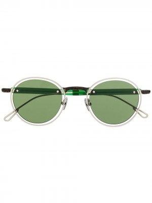 Солнцезащитные очки в круглой контрастной оправе Jacquemus. Цвет: зеленый