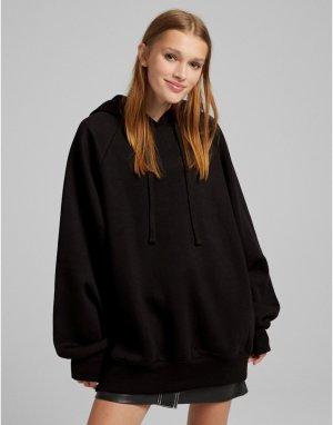 Свободный худи черного цвета -Черный цвет Bershka