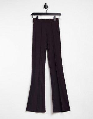 Шоколадно-коричневые расклешенные брюки -Коричневый цвет John Zack