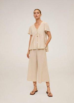 Струящиеся брюки-кюлоты - Thalia Mango. Цвет: песочный