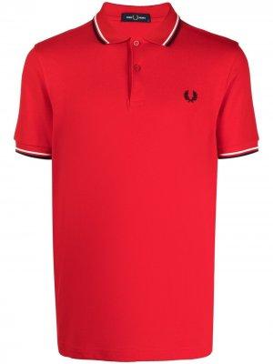 Рубашка поло с отделкой в полоску FRED PERRY. Цвет: красный