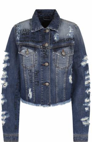 Укороченная джинсовая куртка с потертостями Philipp Plein. Цвет: синий