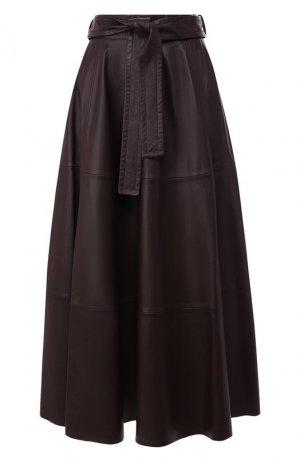 Кожаная юбка Zimmermann. Цвет: бордовый