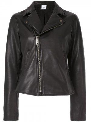 Классическая кожаная куртка Maison Mihara Yasuhiro. Цвет: черный
