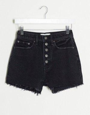 Черные шорты с завышенной талией и пуговицей -Черный Abercrombie & Fitch
