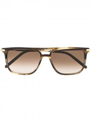 Солнцезащитные очки SF966S в прямоугольной оправе Salvatore Ferragamo. Цвет: коричневый