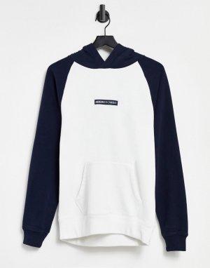Белый худи со вставками темно-синего цвета в стиле колор-блок и логотипом по центру -Темно-синий Abercrombie & Fitch