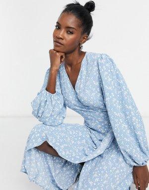 Платье миди с запахом и цветочным принтом -Синий Glamorous