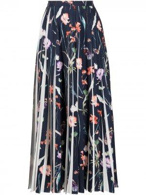 Плиссированная юбка с цветочным принтом Jason Wu Collection. Цвет: синий