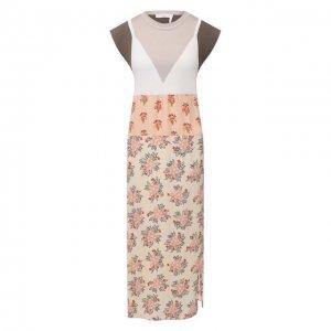 Платье из хлопка и вискозы Chloé. Цвет: разноцветный
