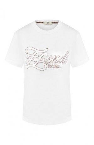 Хлопковая футболка Fendi. Цвет: белый