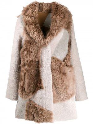 Пальто в технике пэчворк Liska. Цвет: коричневый