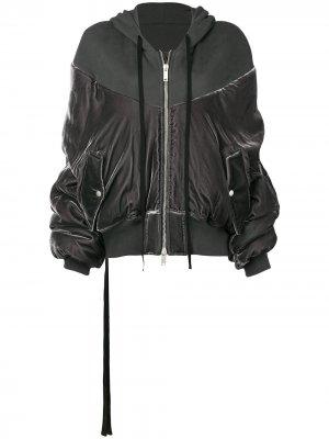 Бархатная куртка-бомбер UNRAVEL PROJECT. Цвет: серый