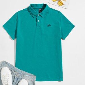 Мужской Рубашка-поло с текстовым принтом SHEIN. Цвет: кадетский синий