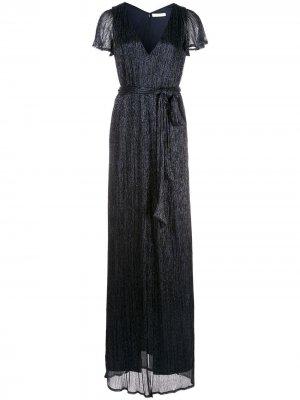 Платье с разрезом и V-образным вырезом Halston Heritage. Цвет: синий