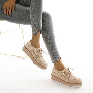 Туфли дерби на шнурках SHEIN. Цвет: aбрикосовый
