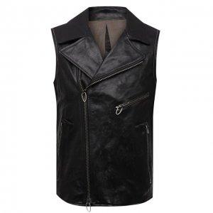 Кожаный жилет Daniele Basta. Цвет: чёрный