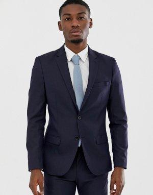 Темно-синий узкий пиджак Celio