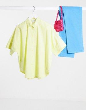 Желтая поплиновая рубашка oversize -Желтый Monki