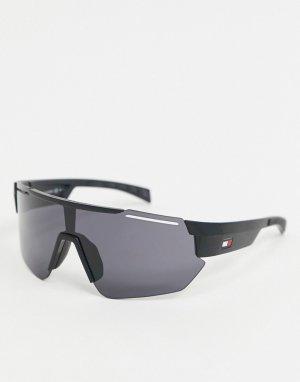 Черные солнцезащитные очки-маска -Черный Tommy Hilfiger