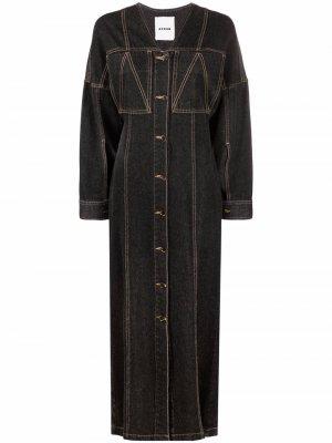 Джинсовое платье Abuela с V-образным вырезом Aeron. Цвет: черный