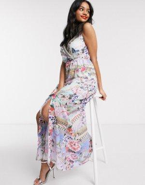 Платье макси с принтом пейсли и запахом x Abbey Clancy-Мульти Lipsy