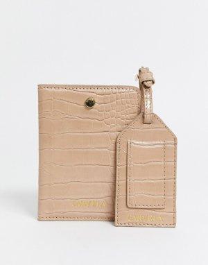 Бежевая обложка для паспорта -Светло-коричневый Carvela