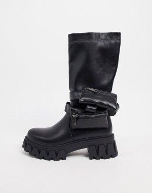 Черные ботинки из экокожи на массивной подошве с кошельками -Черный цвет Koi Footwear