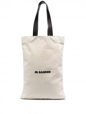 Большая сумка-шопер Jil Sander. Цвет: белый