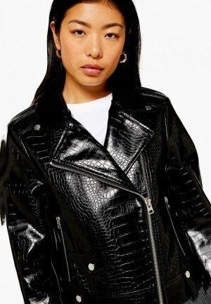 Куртка кожаная Topshop. Цвет: черный