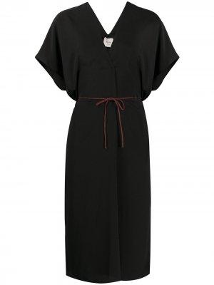 Платье миди с завязками Alysi. Цвет: черный
