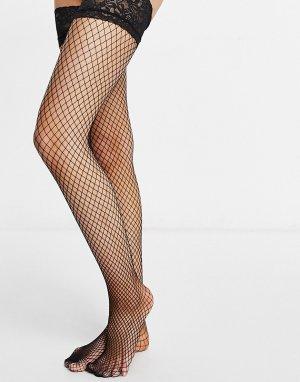 Сетчатые чулки с кружевными манжетами черного цвета -Черный цвет Ann Summers