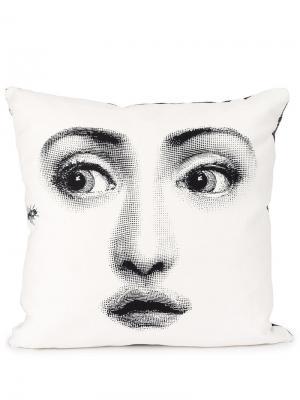 Подушка с принтом лица Fornasetti. Цвет: черный