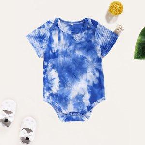 Синий Шнуровка Галстуковый краситель Повседневный Боди для малышей SHEIN. Цвет: синий