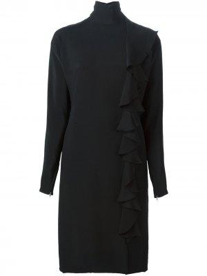 Креповое платье с отделкой рюшами Guy Laroche Pre-Owned. Цвет: черный