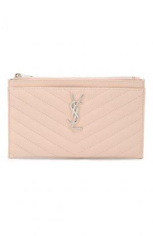 Кожаный футляр для документов Saint Laurent. Цвет: розовый