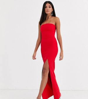 Красное платье-бандо макси с разрезом на юбке -Красный Vesper Tall