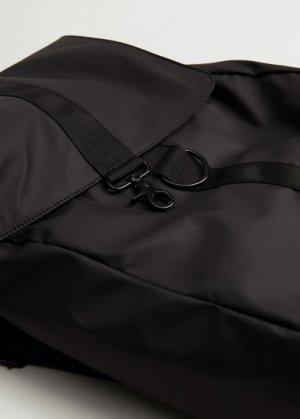 Комбинированный рюкзак с клапаном - Online5 Mango. Цвет: черный