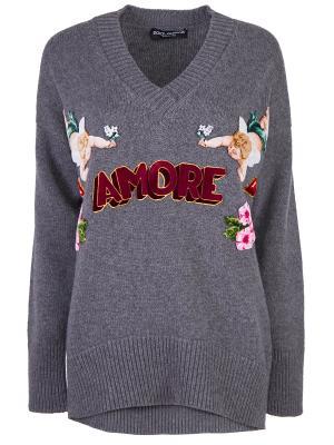 Кашемировый пуловер с декором DOLCE & GABBANA. Цвет: разноцветный