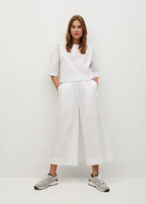 Хлопковая блузка со складками - Pillu-h Mango. Цвет: белый