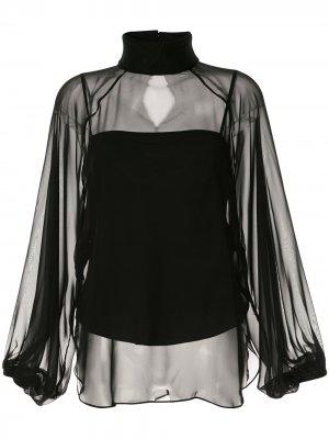 Полупрозрачная блузка с высоким воротником CAMILLA AND MARC. Цвет: черный