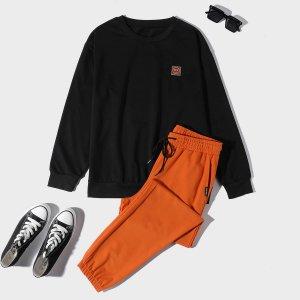 Мужской с заплатой Пуловер & на кулиске Спортивные брюки SHEIN. Цвет: многоцветный
