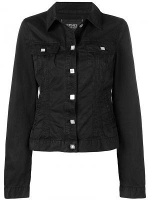 Джинсовая куртка на пуговицах Versace Pre-Owned. Цвет: черный
