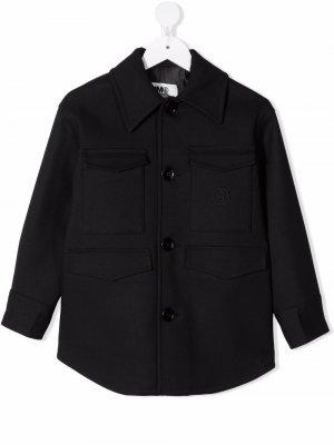 Single-breasted wool-blend coat MM6 KIDS. Цвет: черный